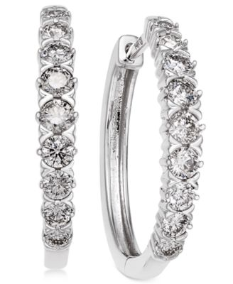 diamond hoop earrings (1 ct. t.w.) in 14k white gold smcatie