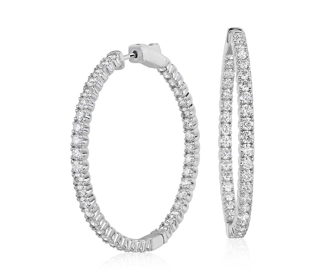 diamond hoop earrings in 18k white gold - f / vs2 (4 ct. tw tmmxskf