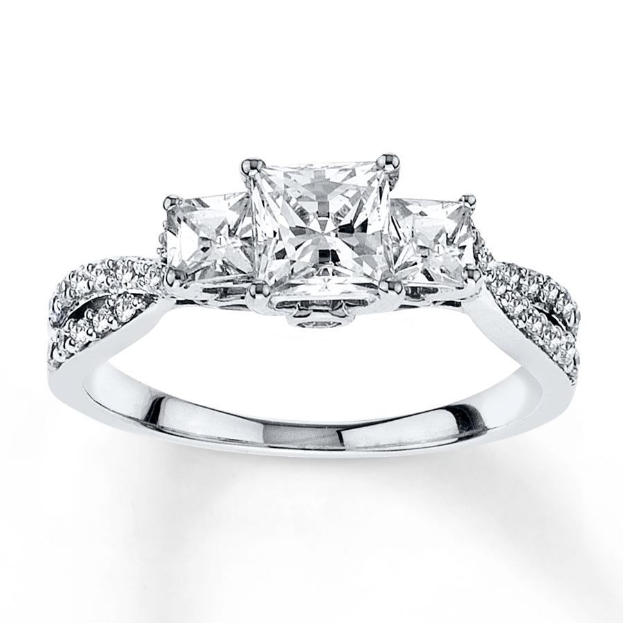 diamond wedding rings diamond engagement ring 1/2 ct tw princess-cut 14k white gold ehxtzao