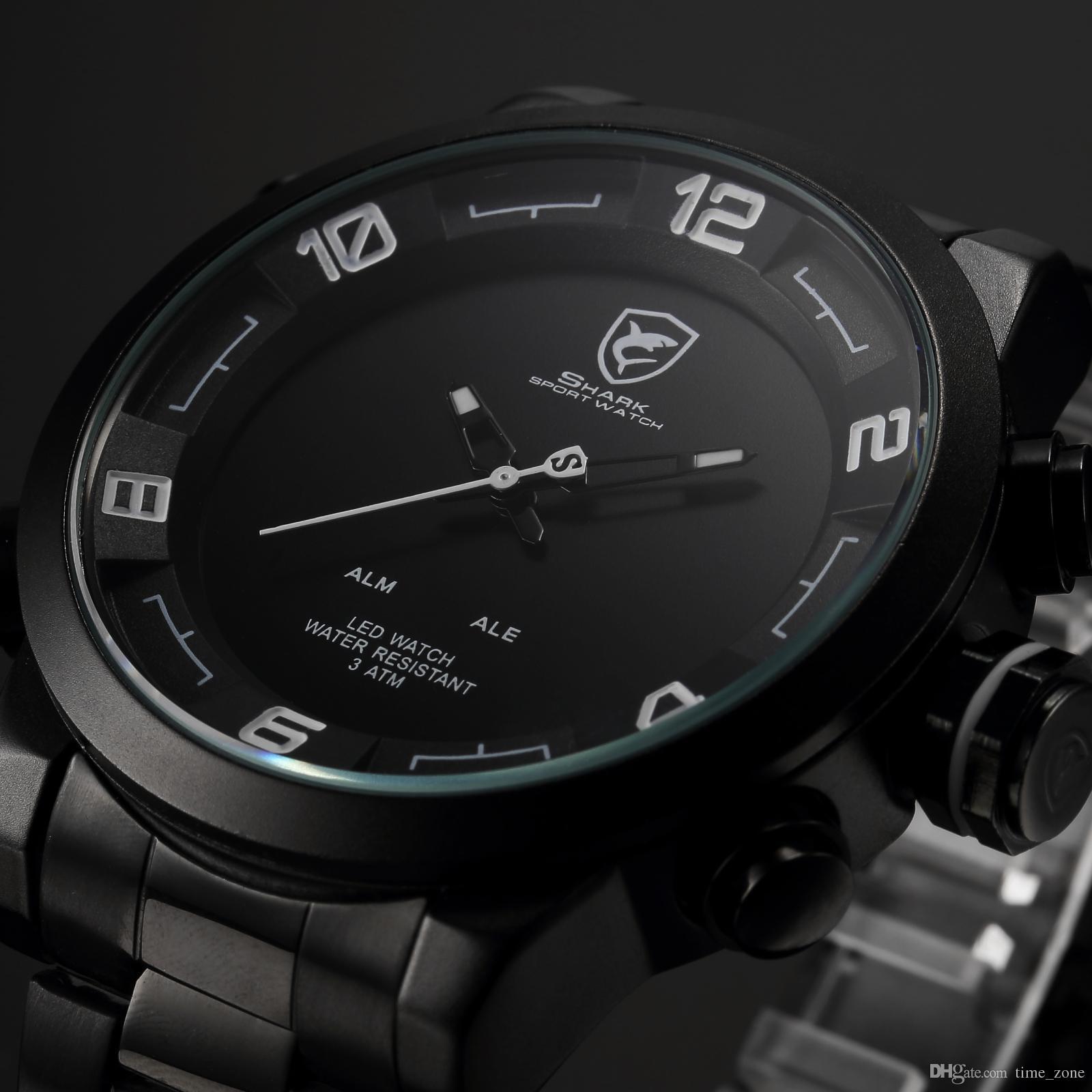 digital watches for men generation gulper shark brand digital watches men black white led dual time  date full gywyslt
