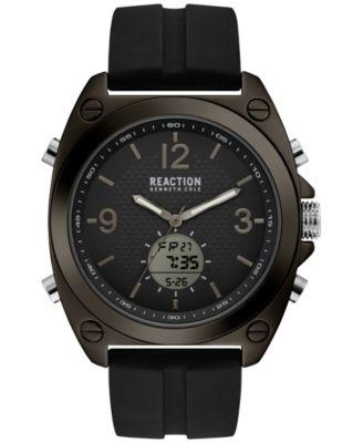 digital watches for men kenneth cole reaction menu0027s analog-digital sport black silicone strap watch  46mm bnpijyv