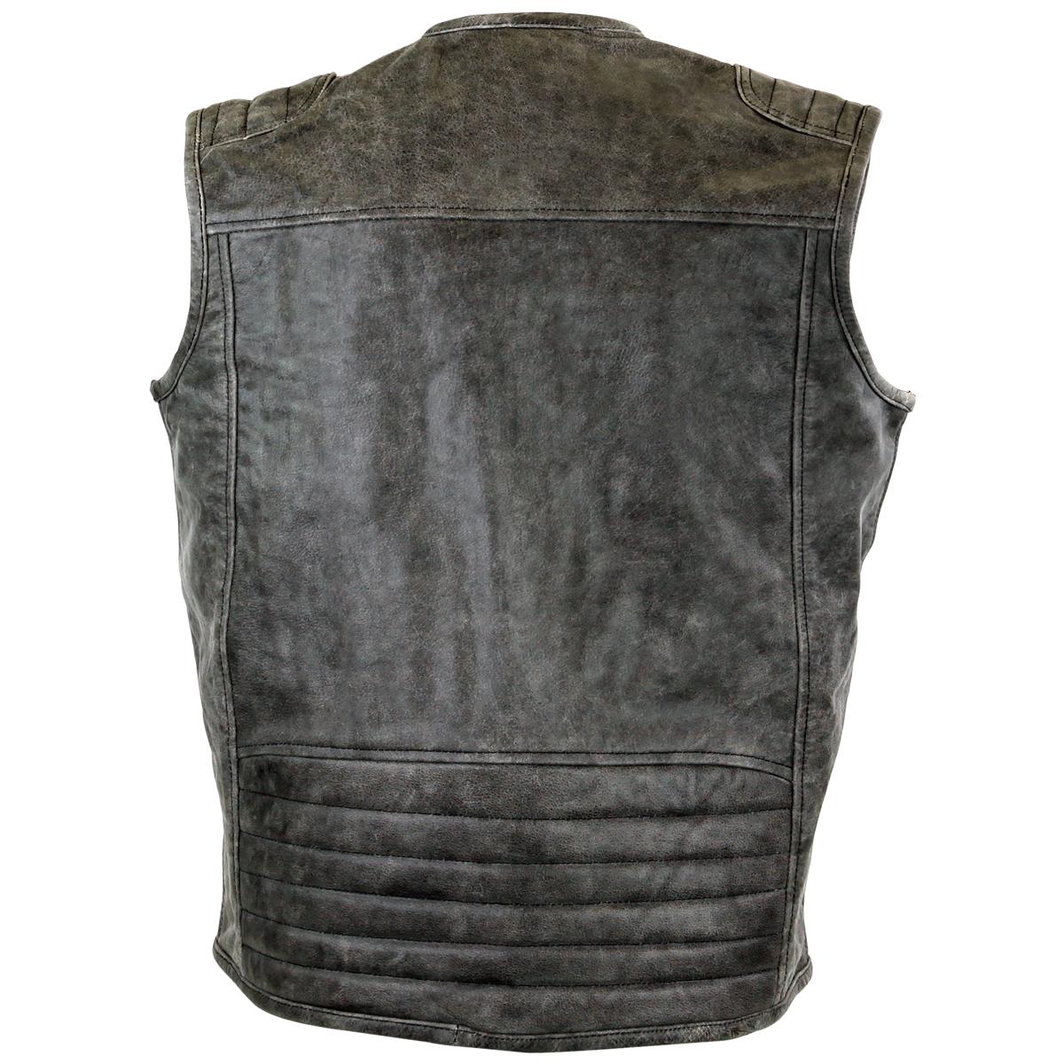 distressed grey motorcycle club leather vest ... npyxnkl