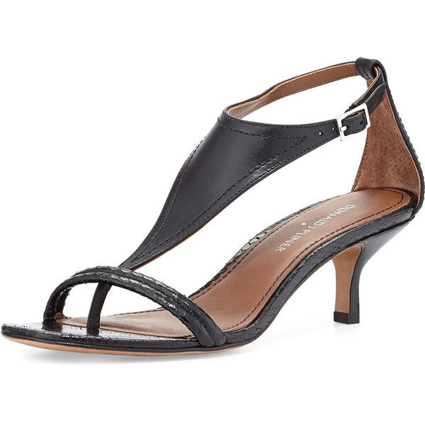 donald j pliner monti leather u0026 snake t-strap sandal (u20ac110) ❤ · kitten heel bomasnf