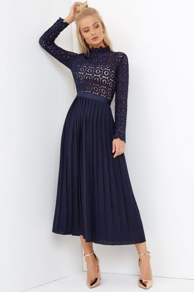 dress for wedding guest navy crochet lace midi dress with pleats anyroiy
