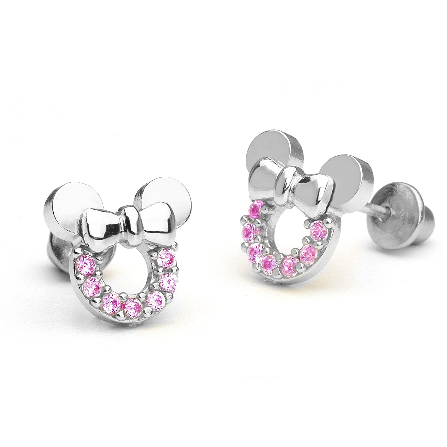 earrings for girls amazon.com: sterling silver rhodium plated pink mouse cubic zirconia  screwback baby girls earrings: stud habtrys