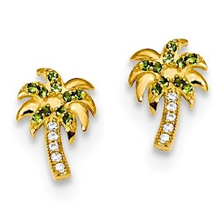 earrings for girls palm tree stud earrings with green cz in 14k gold with push on backs zllcpzh
