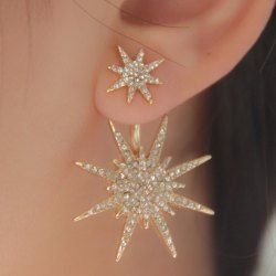 earrings for women 1pc rhinestone double star earring kottbly