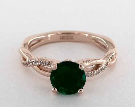 emerald engagement rings 14k rose gold pave setting cmzosei