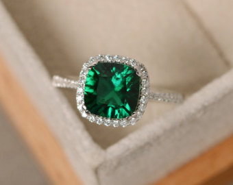 emerald engagement rings emerald engagement ring, sterling silver, cushion cut, emerald gemstone ring hlwfmhu