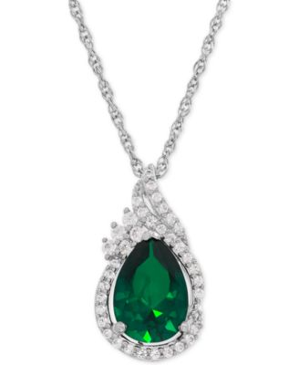 emerald necklace lab-created emerald (1-3/4 ct. t.w.) and white oitssut