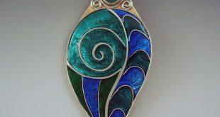 enamel jewelry turquoise enamel pendant/necklace by redpaw pwfheia