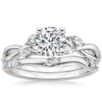 engagement ring sets 18k white gold. willow bridal set ... wooxwpi