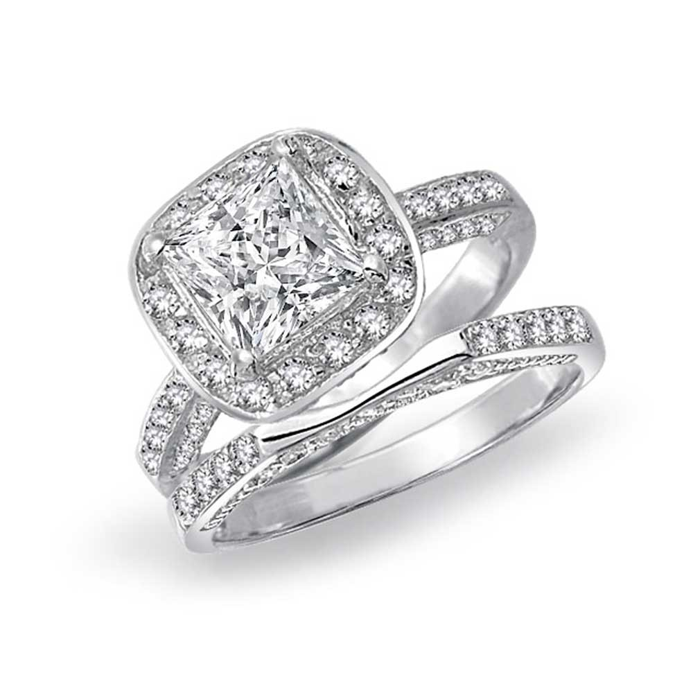 engagement ring sets bling jewelry 925 silver princess cut engagement wedding ring bridal set 3  sided vkafthi