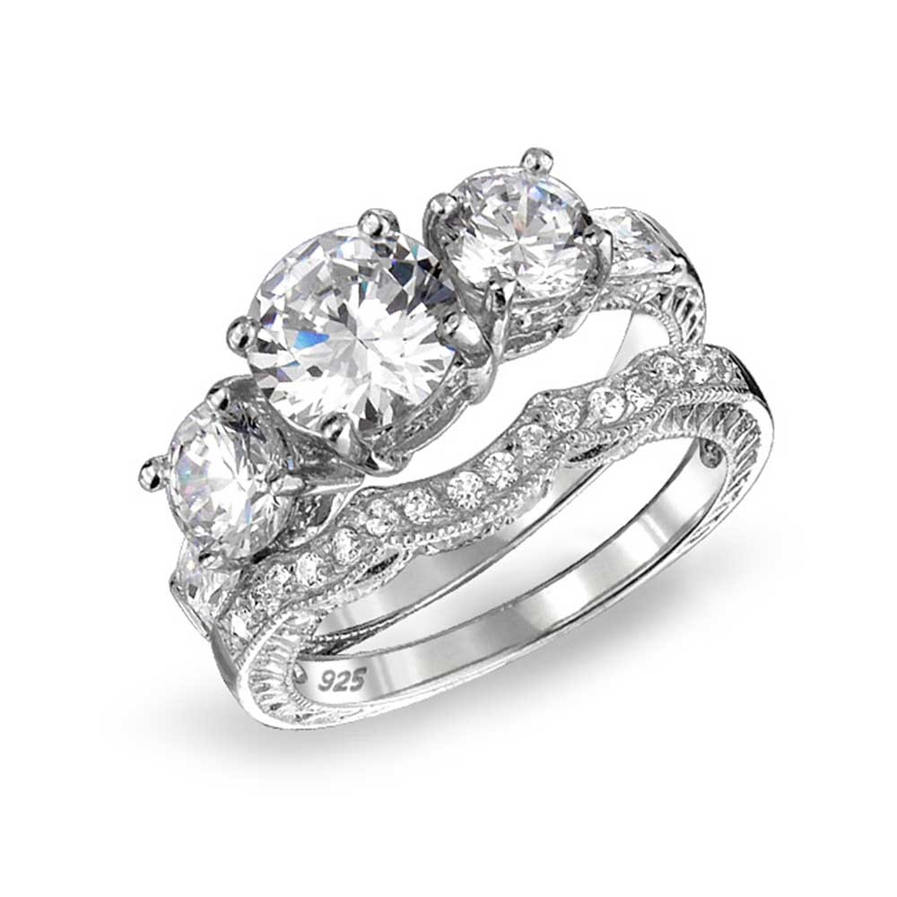 engagement ring sets bling jewelry 925 sterling cz three stone wedding engagement ring set  vintage vkqnqdz