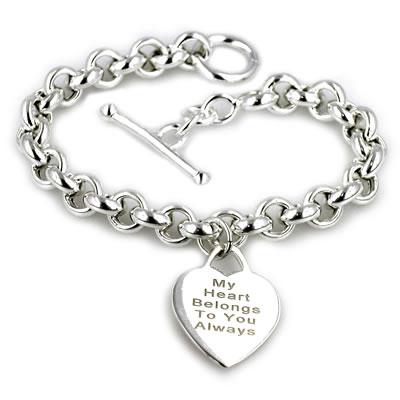 engravable heart bracelet in sterling silver (5 lines) - zales nrcvcen
