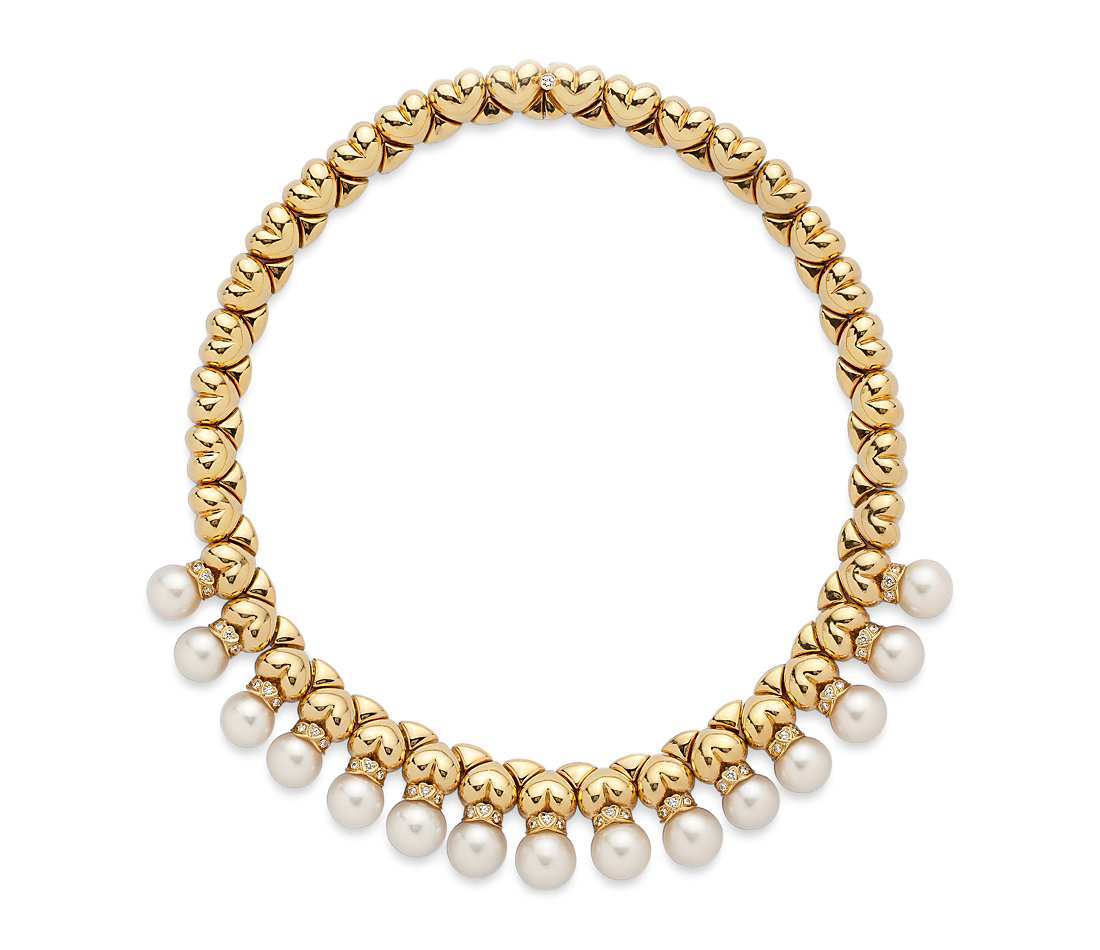 estate cultured pearl and diamond necklace in 18k yellow gold (1 ct. tw. femqgrp