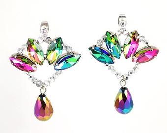 eva crystal earrings, colorful statement earrings, cocktail earrings,  rainbow earrings, party earrings lfqtqhb