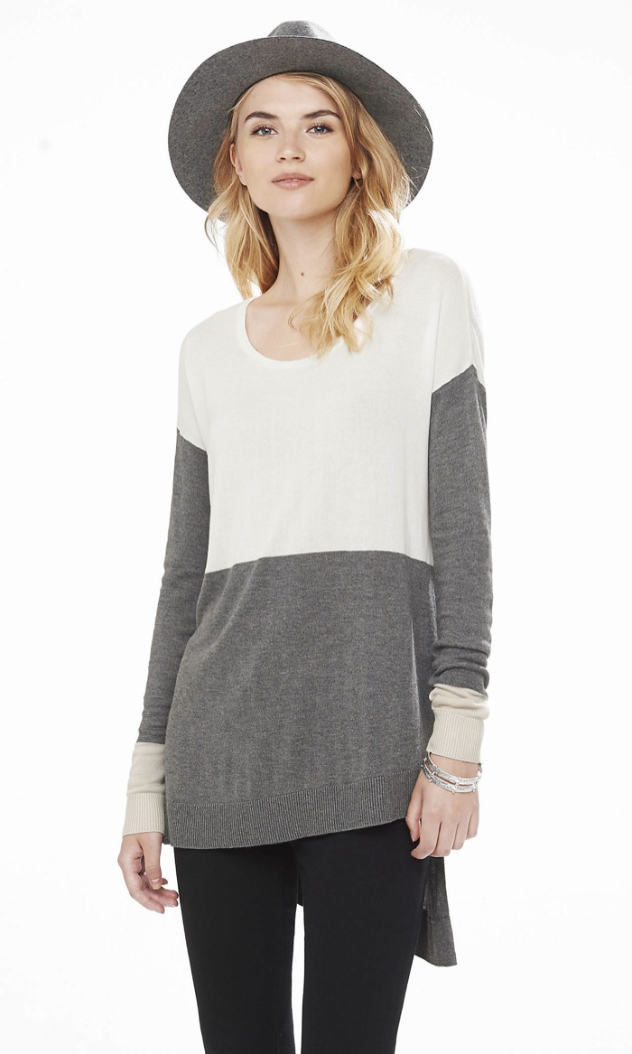express color-block asymmetrical-hem tunic sweater available for $59.90 lukotsi