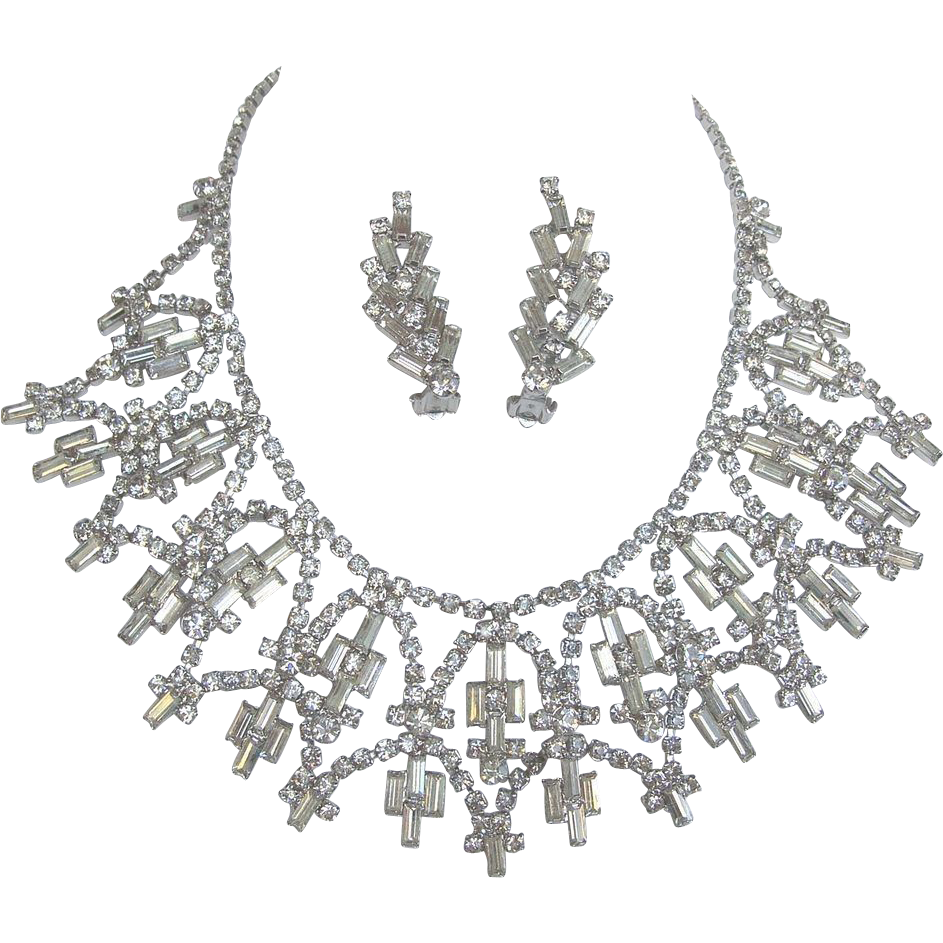 fabulous clear baguette rhinestone necklace and earrings hjhwqsl