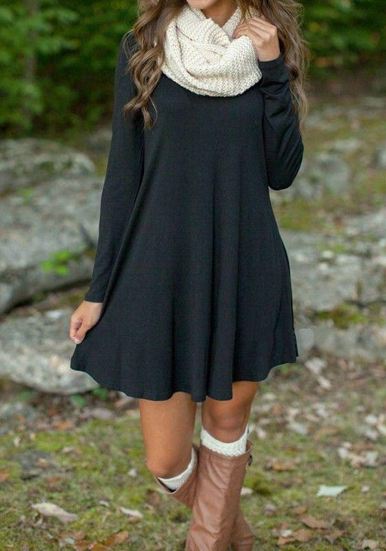 fall dresses black plain v-neck casual mini dress rhoxukk
