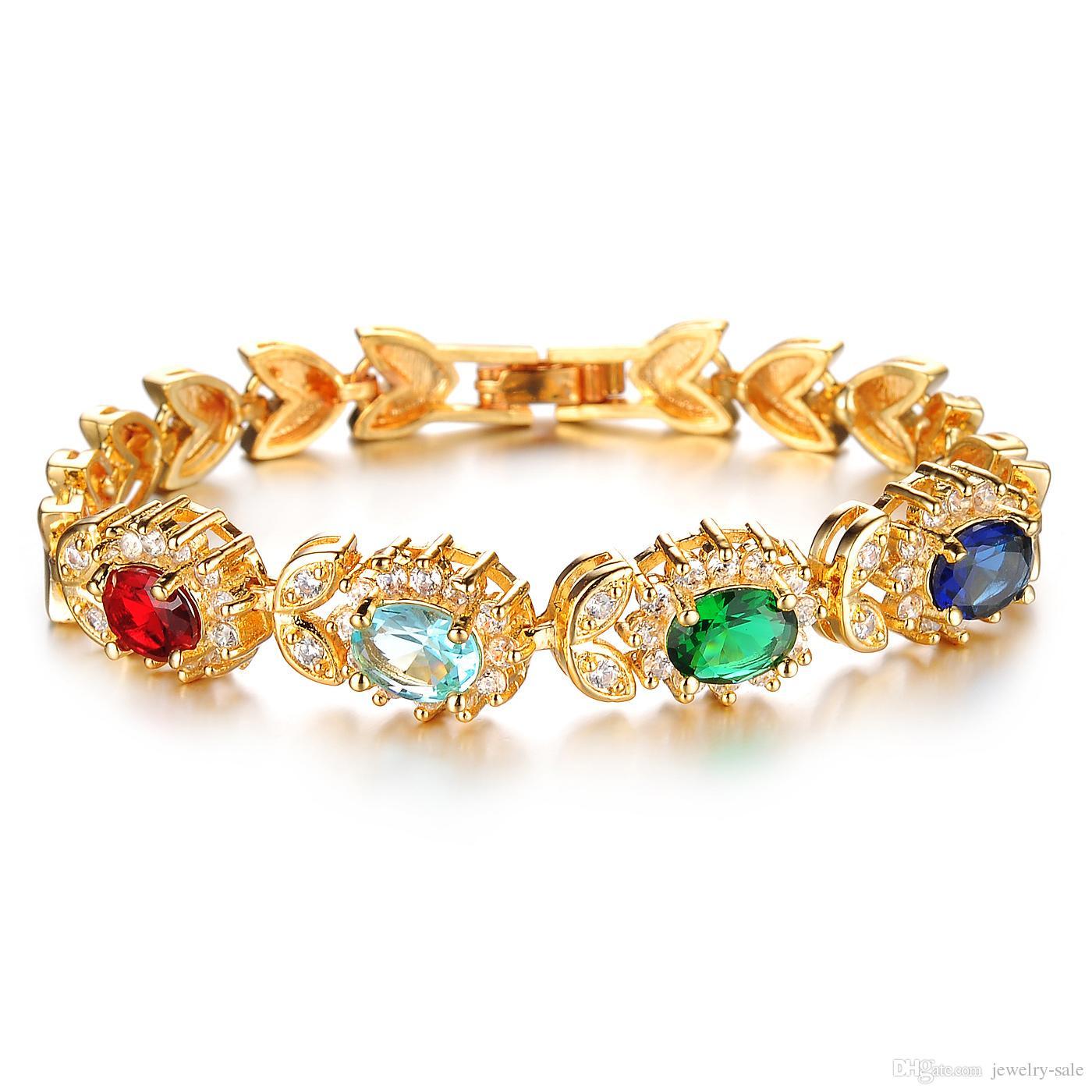 fashion 18k yellow gold bracelets for women wedding bracelet with cz zircon  crystal 439 byotcoz