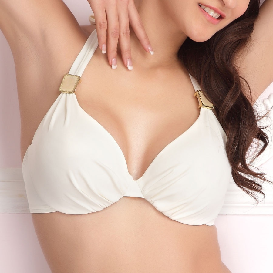 fashion padded underwire halter neck bra in offwhite rwiaebj