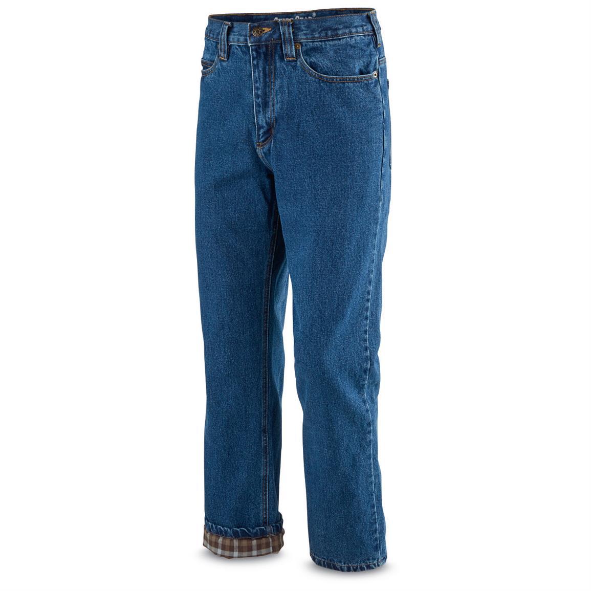 flannel lined jeans guide gear menu0027s flannel-lined denim jeans, stonewash hftnusp