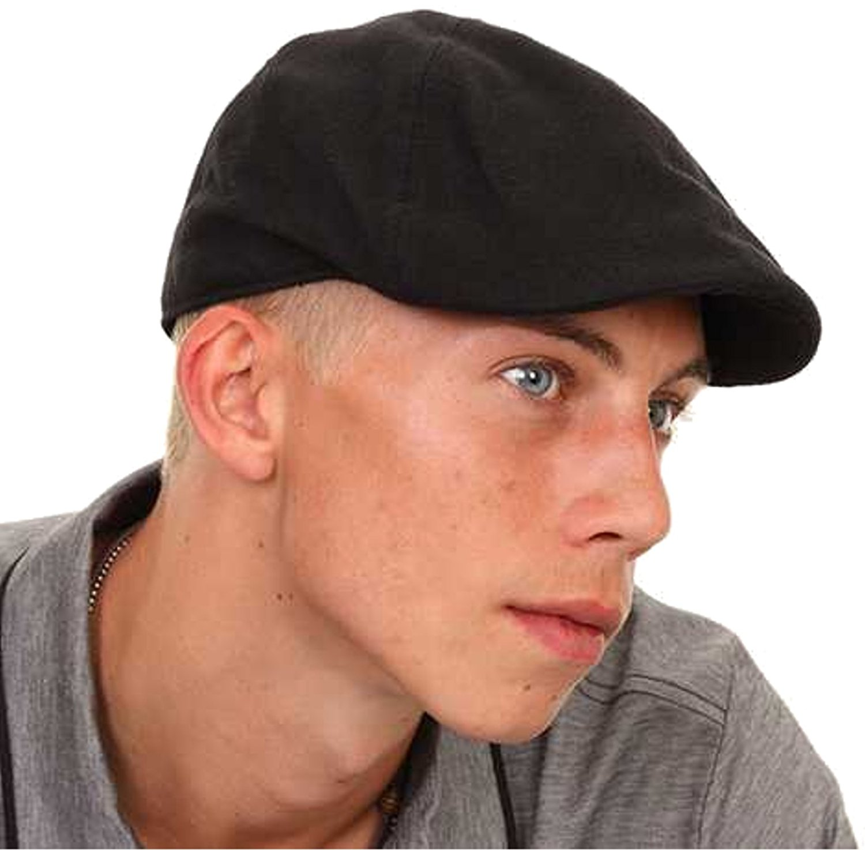 flat caps for men mens/boys black flat cap with preformed peak zueuhru