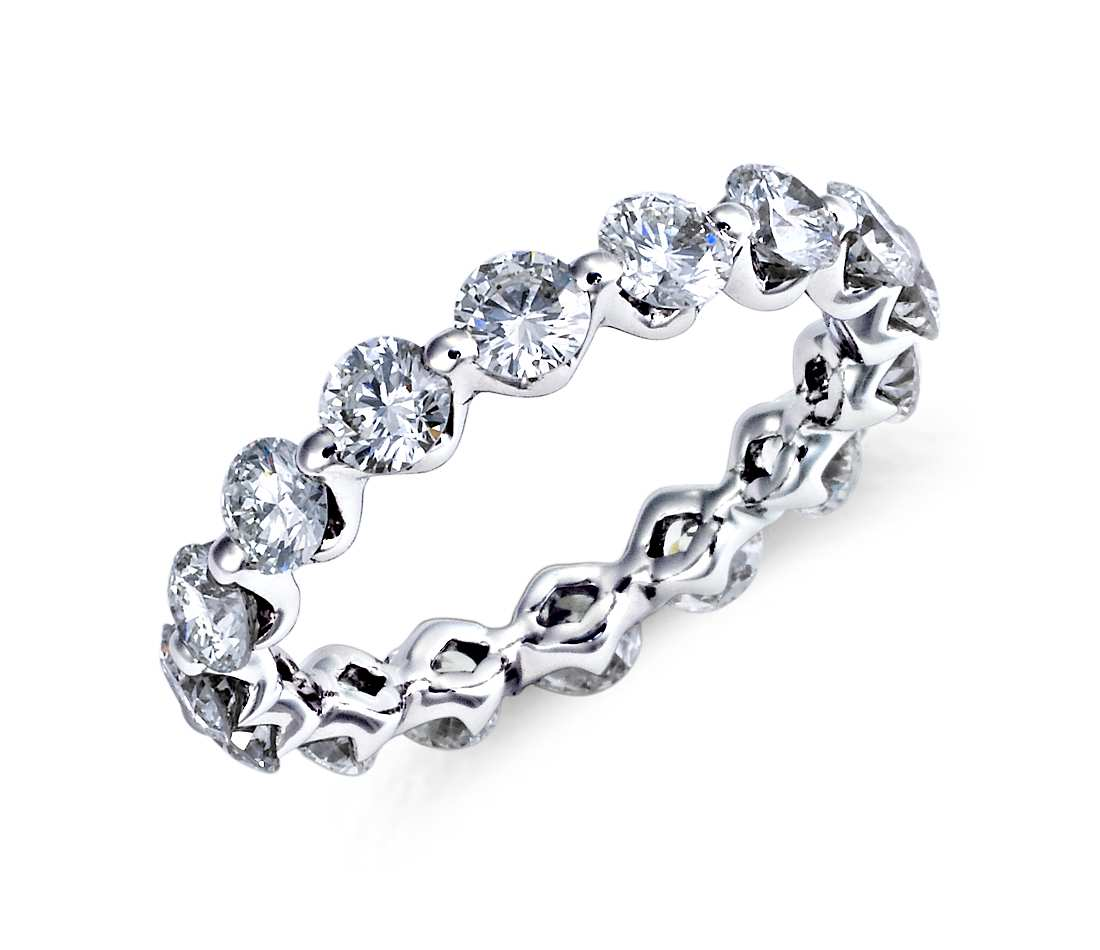 floating diamond eternity ring in platinum (2.2 ct. tw.) ktdvxkl