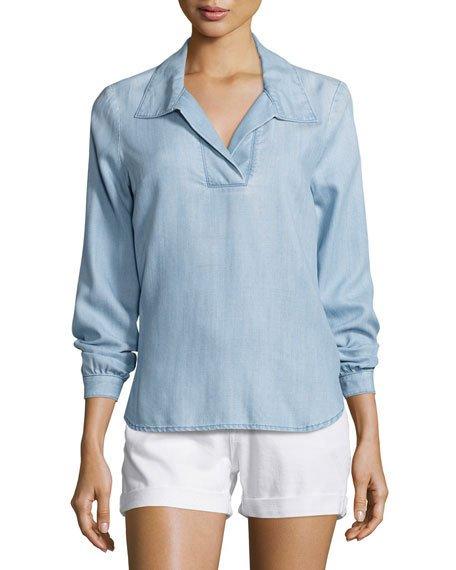 frametie-back collared denim blouse, rowan oaohjfx