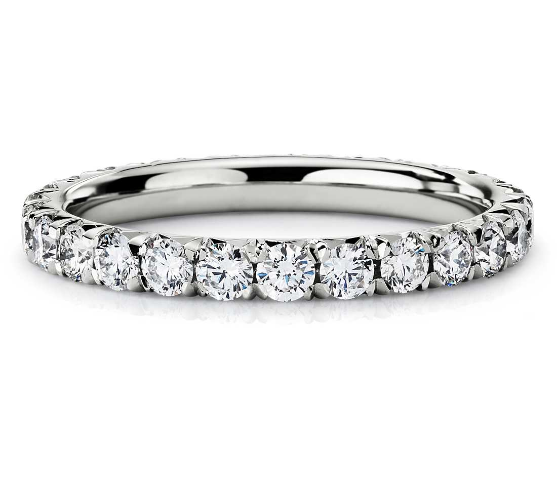 french pavé diamond eternity ring in platinum (1 ct. tw.) jxmxvqz
