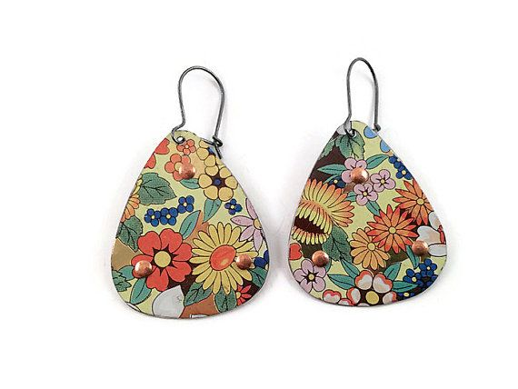 funky earrings recycled tin earrings reversible floral by tinmoonjewelryworks. $34 qncqwrb