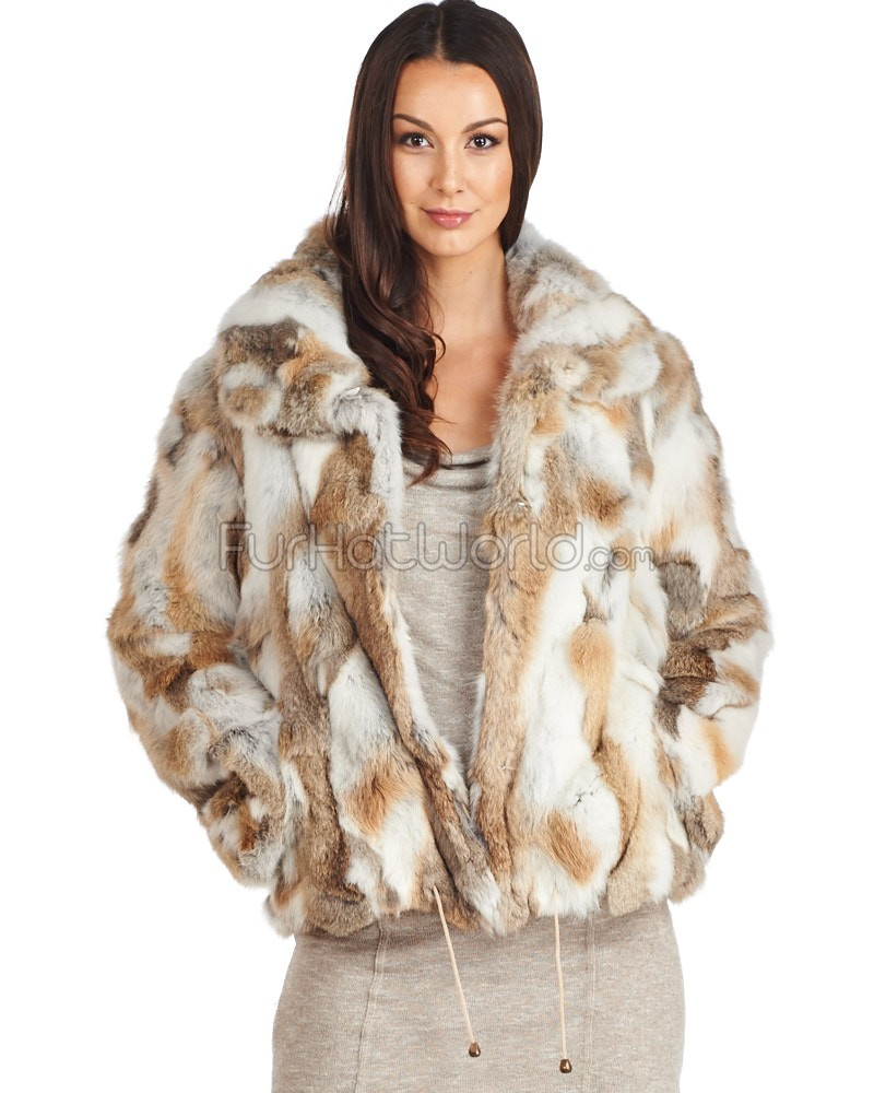 fur coats dina pieced rabbit fur jacket in natural brown wcqmmde