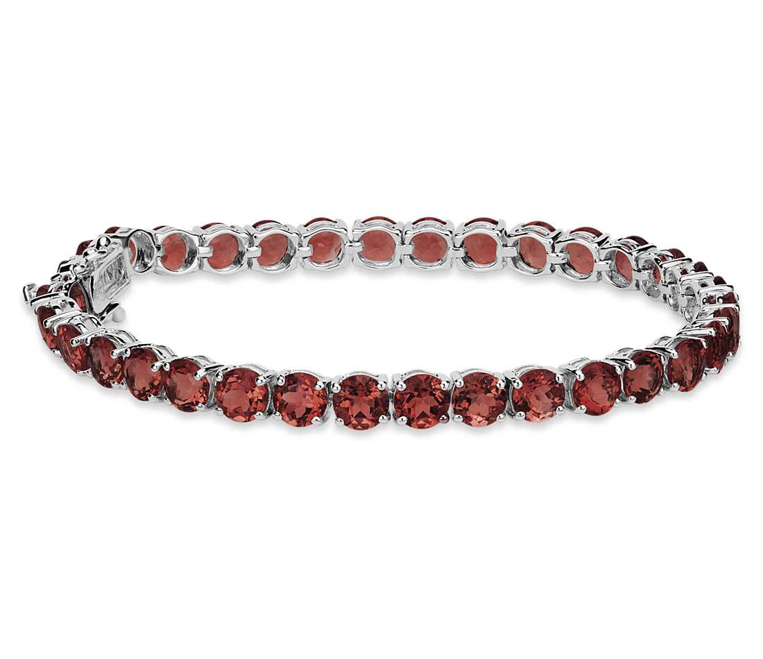 garnet bracelet in sterling silver (5mm) etzrykq