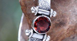 garnet jewelry modern sterling silver garnet ring - mystical eye | novica uklalos