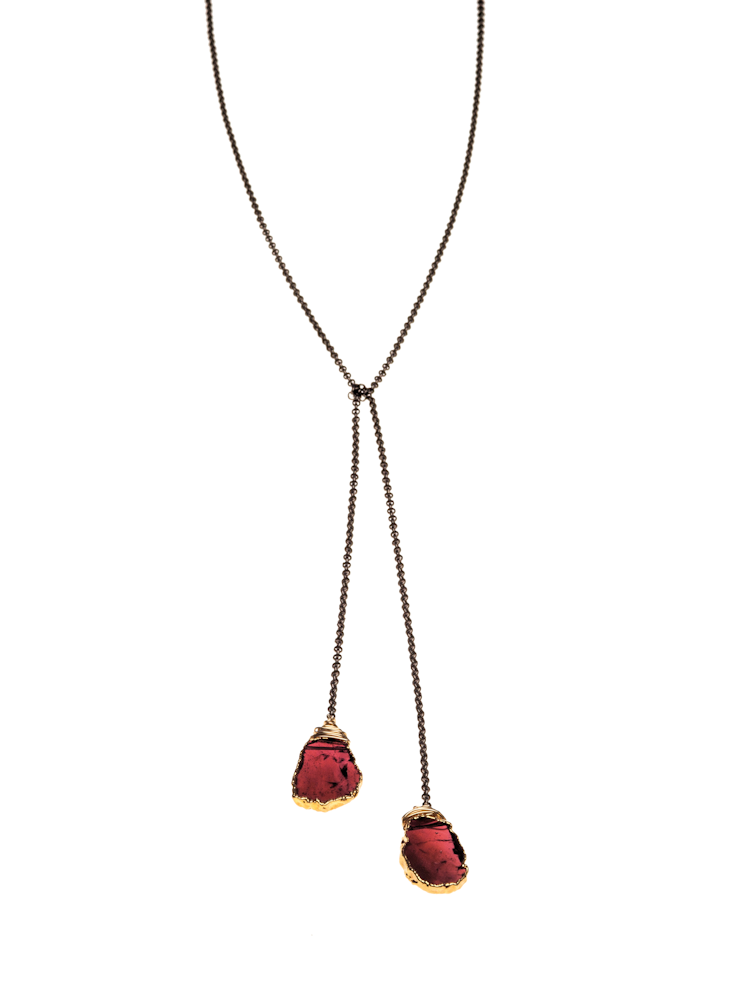 garnet slice lariat necklace ycxdcqn