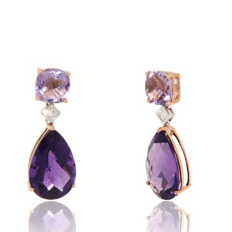 gemstone earrings rose gold earrings, diamonds, amethyst, gemstones, drop earrings, unique,  for phtudft