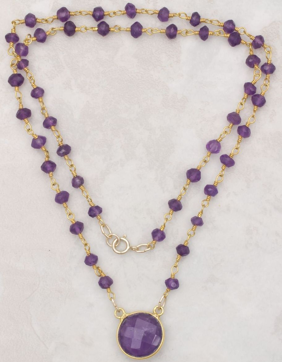 gemstone necklaces amethyst pendant and gemstone necklace vyimcev