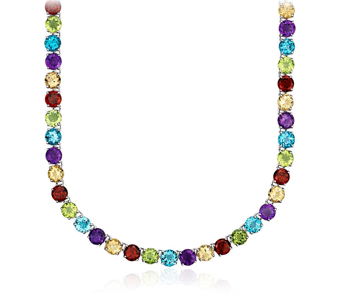 gemstone necklaces multicolor gemstone eternity necklace in sterling silver (5mm) yjtkaie