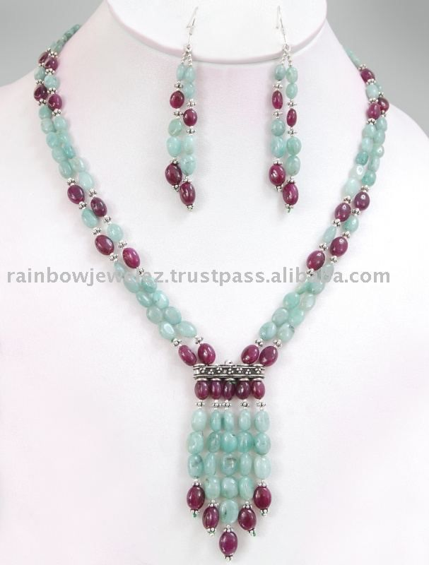 gemstone necklaces source 2 strands emerald ruby designer gemstone necklace/gurgaon delhi on  m.alibaba. occmsej