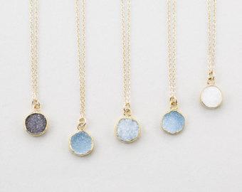 gemstone necklaces tiny round druzy pendant necklace / gold edged stone on 14k gold fill chain pfgewdp