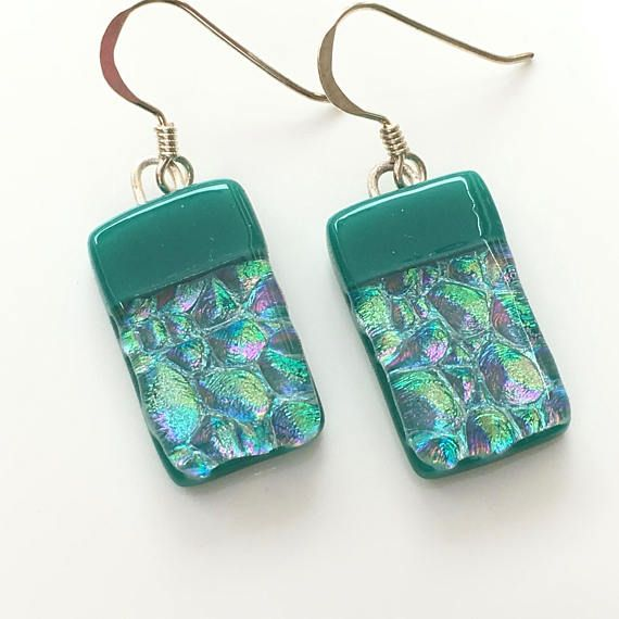 glass jewelry teal green dichroic earrings - teal bar glass earrings - handmade earrings  - green gmdlacs