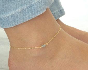 gold anklet aquamarine anklet, march birthstone, genuine aqua gold fill anklet,  aquamarine jewelry dainty rose bnxlecj