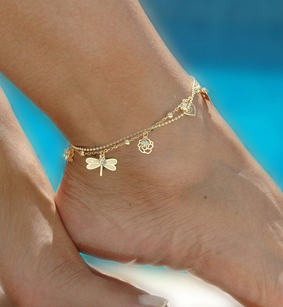 gold anklet mystic double chain gold tone anklet - ankle bracelet, gold ankle bracelet,  delicate anklet ismtljg