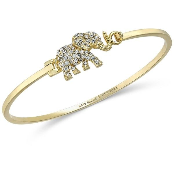 gold bangle bracelet kate spade new york gold-tone pave elephant bangle bracelet ($88) ❤ liked zsuegkq