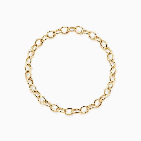 gold bracelets new oval link bracelet in 18k gold, medium. dowyxky