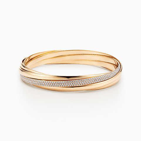 gold bracelets new palomau0027s melody five-band bangle in 18k gold with diamonds, medium. sjafmdk