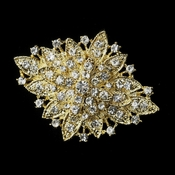 gold brooch gold clear crystal flower bridal brooch 14 kgfbnvi