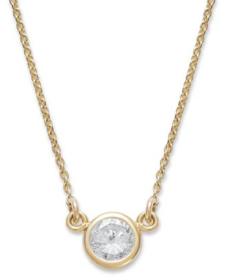 gold diamond necklace bezel-set diamond pendant necklace (1/5 ct. t.w.) in 14k yellow or white  gold - kzntusb