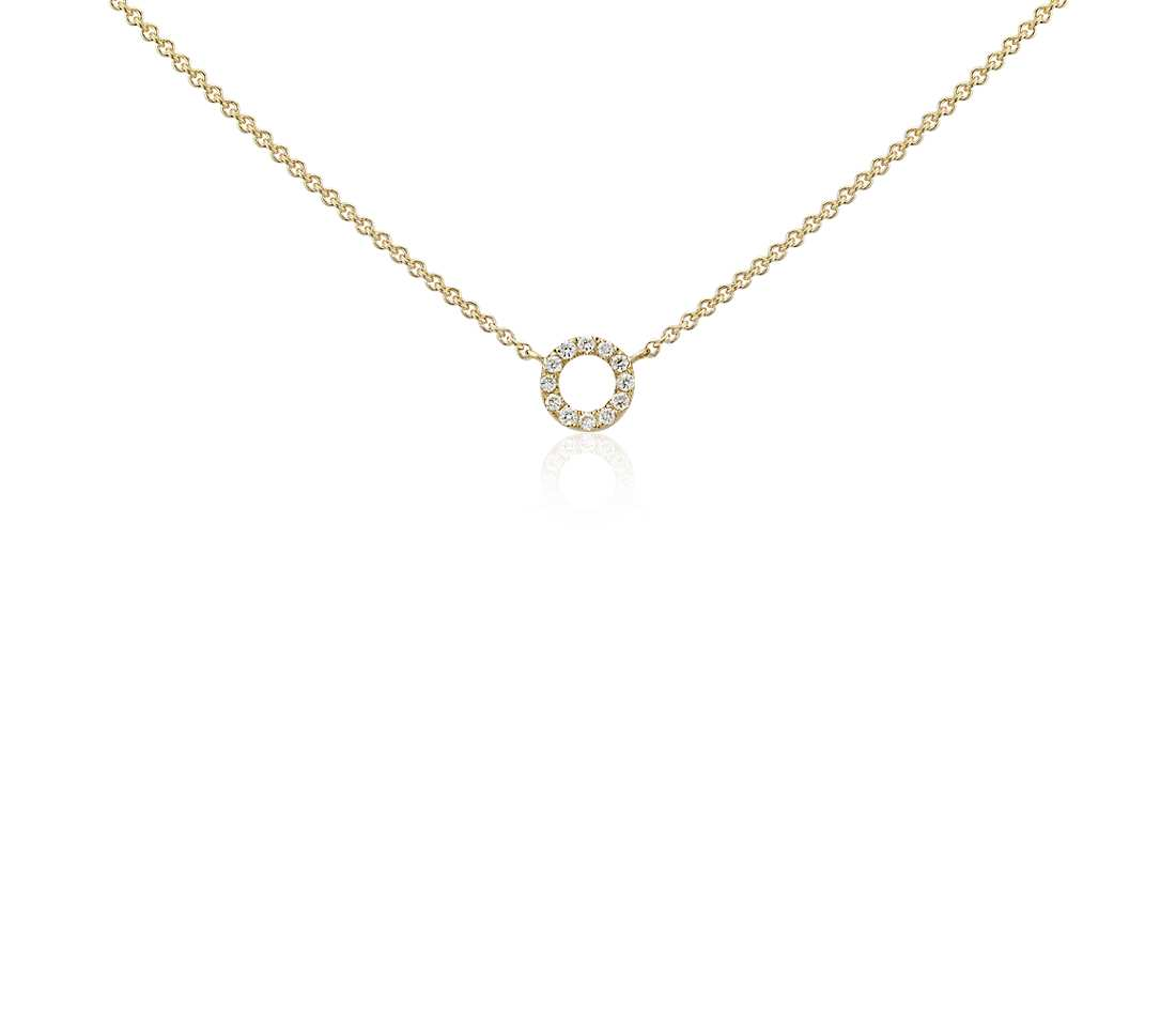 gold diamond necklace mini circle diamond necklace in 14k yellow gold shjghhw